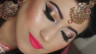 Real Bride | Engagement/Nikaah Asian Bridal Makeup | Gold Smokey Eyes And Bright Pink Lipstick - Download this Video in MP3, M4A, WEBM, MP4, 3GP
