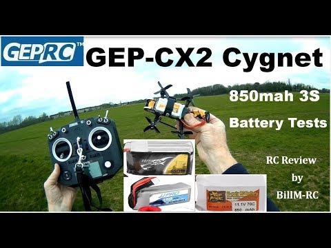 GepRC GEP-CX Cygnet review - 3x 850mah battery tests