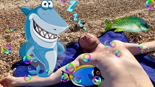 Funny Pretend Play Diana on the Beach. Shark Attack!