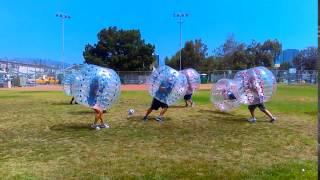 Big hit! bubble soccer girl does full flip