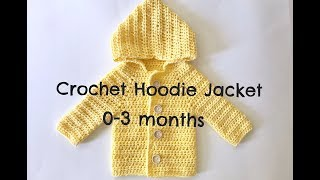 How To Crochet Hoodie Jacket (0-3 Months)