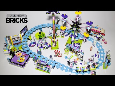 Lego Friends Amusement Park - Roller Coaster Bumper Cars Hot Dog Van Space Ride Arcade - Speed Build