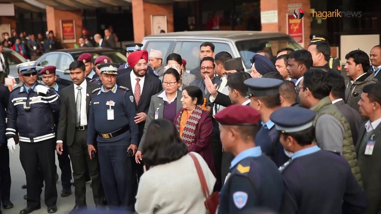 भिडियोमा हेर्नुहोस् भारतीय विदेशमन्त्री स्वराजको काठमाडौं आगमन