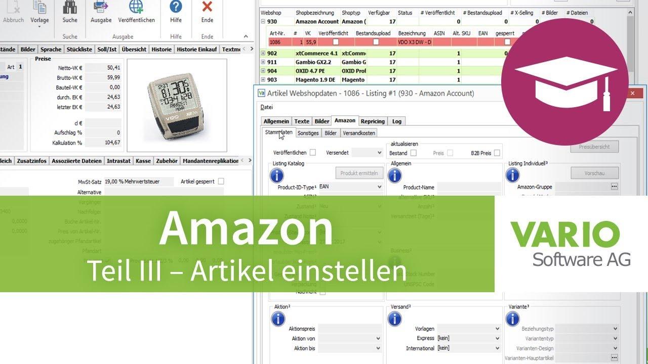 Amazon-Schnittstelle – Artikel einstellen