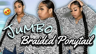 SLEEK LONG BRAIDED PONYTAIL ON NATURAL HAIR | NO HEAT | KDiani