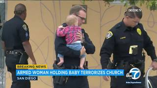 Churchgoers tackle woman holding gun and baby who made threats to blow up church | ABC7