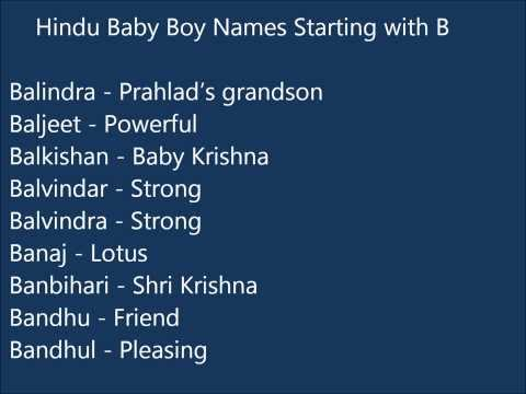 Indian Hindu Baby Boy Names Starting With B
