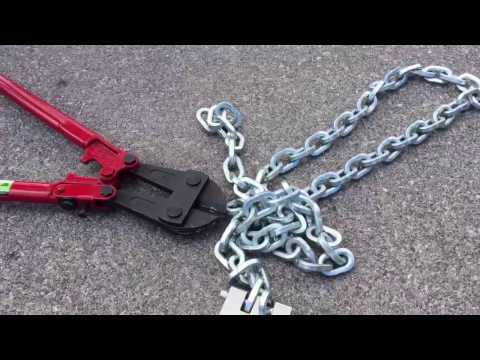 Cutting Security Maxx 3/8″ through hardened square link chain with Harbor freight bolt cutters