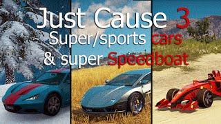 Just Cause 3 rare sports/super car locations + super speedboat!