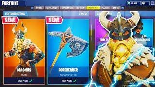 """NEW """"Mangus"""" VIKING SKIN + NEW """"Forebearer"""" AXE in Fortnite! - NEW UPDATE! (Fortnite Battle Royale)"""
