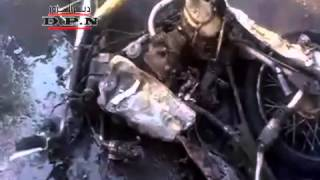 preview picture of video '20110809 - Deir ez-Zor City - A motorcycle being crushed by a tank'