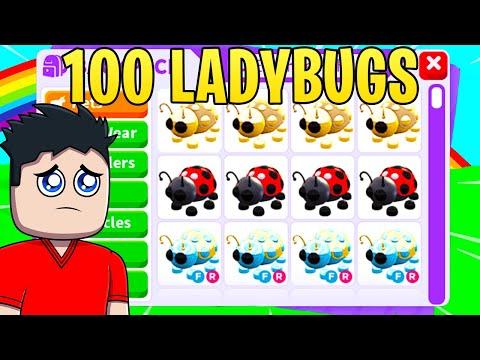 Poor NOOB catches 100 LADYBUGS (ADOPT ME SUCCESSFUL TRADES)