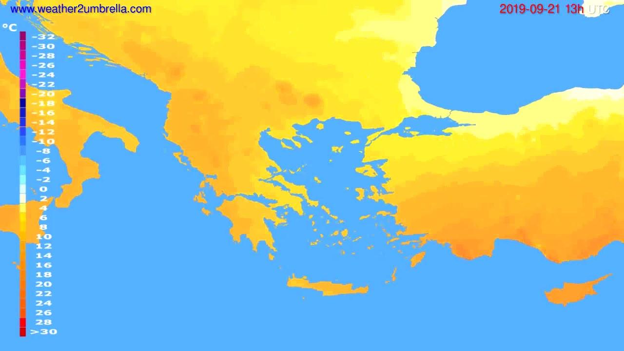Temperature forecast Greece // modelrun: 12h UTC 2019-09-19