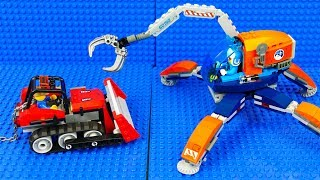 Lego Cars Bulldozer and Excavator, Tractor and Police Car, Monster Truck . Toys cars for children