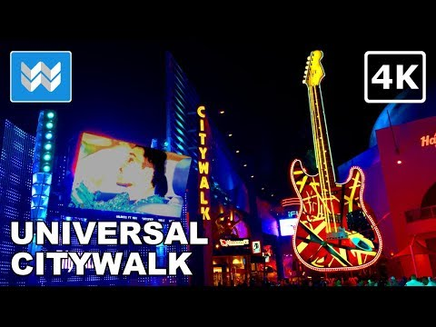 Walking tour of Universal City Walk Hollywood at Night in Universal Studios Los Angeles, CA【4K】