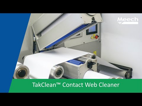 Video of TakClean, a contact web cleaner using adhesive, tacky, sticky rolls to remove contamination