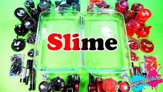 Mixing all Red vs Black in Slime (with my brother)  / Supermanualidades