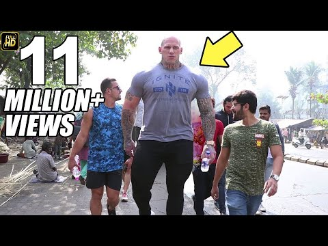 Watch Indian People Reaction When Giant Bodybuilder Martyn Ford Walks On Mumbai Street