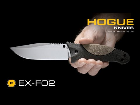 "Hogue EX-F02 Clip Point Fixed Blade OD Green Polymer/Rubber (4.5"" Stonewash)"