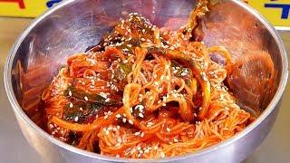 Spicy Noodles (Bibim Guksu) - Korean Street Food