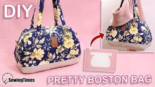 DIY PRETTY BOSTON BAG   Large Capacity Handbag Tutorial & Pattern [sewingtimes]