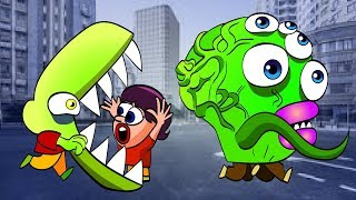 отряд ЗОМБИ съедает ЛЮДЕЙ и переворачивает МАШИНЫ в ГОРОДЕ Мультик для детей Zombie Tsunami