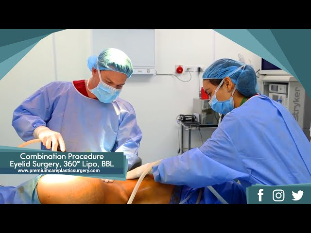 Combination Plastic Surgery Procedure:  Eyelid Surgery, 360° Liposuction, Brazilian Butt Lift
