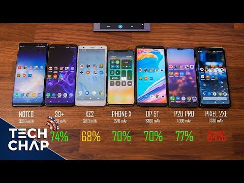 Galaxy S9 + vs iPhone X vs Huawei P20 Pro vs Sony XZ2 vs OnePlus 5T – Test della batteria