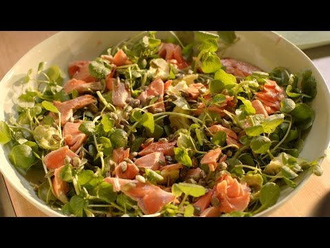 Salmon, avocado, watercress and pumpkin seed salad recipe - Simply Nigella: Episode 5 - BBC Two