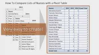 Compare Multiple Lists with a Pivot Table