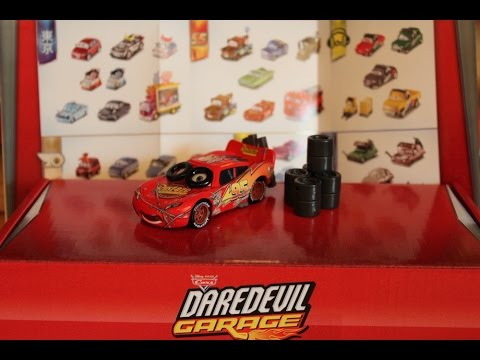Mattel Disney Cars 2016 Daredevil Garage Spin Out Lightning McQueen Promotion Box Poster