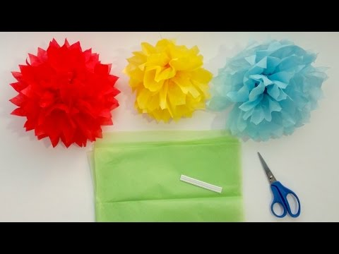 How to Make Tissue Paper Pom Pom Flowers in 4 Easy Steps