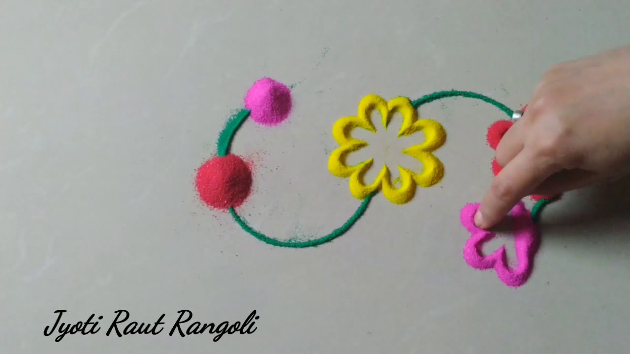 easy rangoli design by jyoti raut