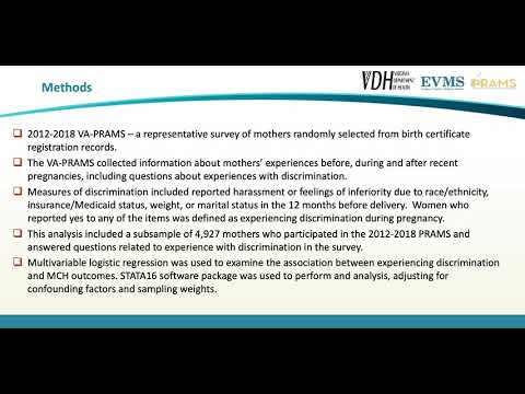 Thumbnail image of video presentation for Discrimination during pregnancy and adverse pre- and postnatal outcomes - Findings from 2012-2018 Virginia Pregnancy Risk Assessment Monitoring System Data