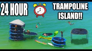 24 HOUR TRAMPOLINE FORT IN THE OCEAN!! Round 2! (COPS CALLED 5 TIMES) - Video Youtube