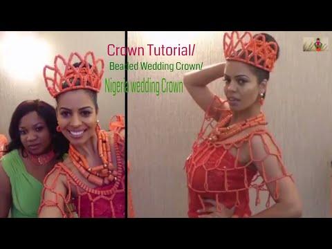 crown tutorial for beginner/ beaded  wedding crown/Nigeria wedding crown.