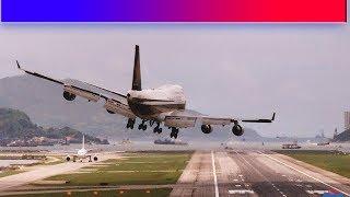 Посадка самолета при сильном боковом ветре - Видео онлайн