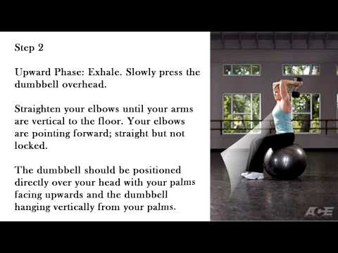 Stability Ball Dumbbell Overhead Triceps Extension