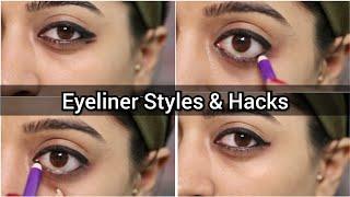 3 Eyeliner Styles & Eyeliner Hacks for Beginners _ Using #Plum Kajal