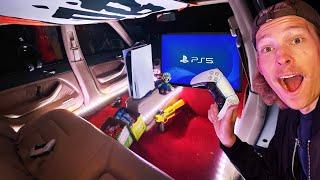 We Built Hidden *PS5* Gaming Room in Abandoned Car!