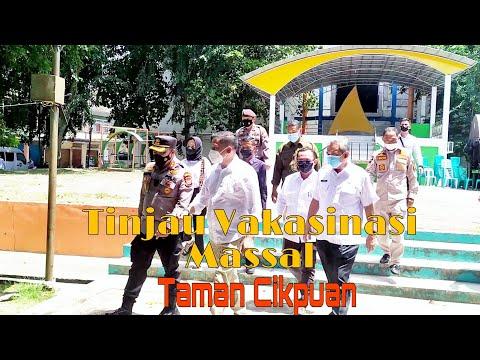 VIDEO: Bersama Kapolres Meranti, Bupati Adil Tinjau Vaksinasi Massal di Taman Cikpuan