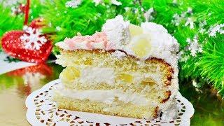 "Тающий во рту бисквитный торт  ""Пина Колада""\Новогодний рецепт"