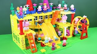 Peppa Pig Blocks Mega House With Water Slide Toys For Kids - Lego Duplo House Building Toys