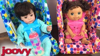 Joovy Pink and Blue Toy Booster Seat Unboxing and trying with Adora Doll, Baby Alive, and Reborn!