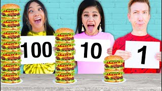 100 LAYERS FOOD CHALLENGE vs 100 Mystery Buttons