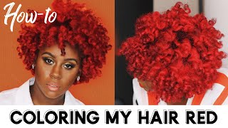How I Dyed My Natural Hair Bright Red Without Bleach At HOME!!!