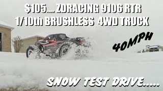 ZDRACING 9106 BRUSHLESS!! RTR 4WD Truck Test Drive in the Snow