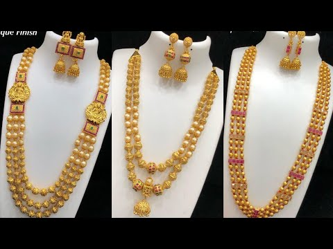 latest antique finish long gold ball haram collections with price |trending collections