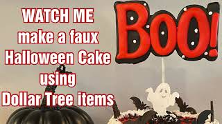 I Made A Faux HALLOWEEN Cake... From 95% Dollar Tree Products!