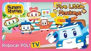 🐵Five Little Monkeys Jumping on The Bed🍌| Robocar POLI | Nursery Rhymes